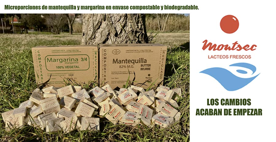 Mantequilla y margarina en envases compostable y biodegradable.